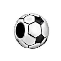 Wholesale European Football Charms - Fashion Jewelry Large Hole Metal Bead Soccer Football Sport European Beads Loose Charms Fits Pandora Bracelet