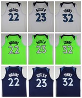 Wholesale Boys Shirts Sale - 2018 NEW 23 Jimmy Butler Jersey 32 Karl-Anthony Towns 22 Andrew Wiggins Basketball Jerseys Mens Green Blue College Shirts Sale