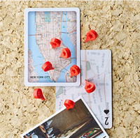 Wholesale Map Stationary - 20pcs lot Creative round red cap pushpins set cork wall studs photo wall nails creative stationary binding filling blackboard map pushpins