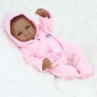 poupée en caoutchouc enfant achat en gros de-NPKDOLL Reborn baby Open eyes peau noire 28cm en caoutchouc maison de poupée cadeau jouets enfants reborn