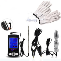 Wholesale Sex Stim - TENS Electro Sex Kit Penis Urethral Sounds Electronic Pulse Massager Vagina Anal Plug E-stim Gloves Electric Clamp for Men&Women