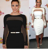 Wholesale kardashian bodycon - New Fashion Women Celebrity Dress Kim Kardashian Bodycon Pencil Dress Party Cocktail Long Sleeve Midi Dress with Belt DK7911QT free dropship