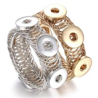 Wholesale Watch Chain Copper - NOOSA Three Snaps Button Chunks Bracelet 12MM 18MM Snap Bangles Gold Silver Adjustable Elastic Snap Bracelet Watches One Direction
