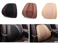 lumbar support mesh cushion Canada manufacturers - New Black Color Car Office Home Breathable Mesh +Leather Four Seasons Universal Chair Lumbar Back Support Cushion Pillow