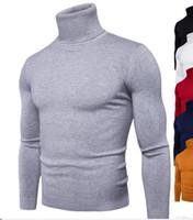 Wholesale Turtle Neck Men Knitwear - High Quality Casual Sweater Men Pullovers Fashion Autumn Winter Knitting Long Sleeve Turtle Neck Knitwear Sweaters Multi-color M-XXL T170730