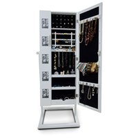 Wholesale Wooden Mirror Jewelry Armoire Cabinet with Double Doors Photo Frame Jewelry Storage Organzier Case USA Stock