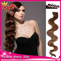 Wholesale Tape Hair Extensions Lengths - 6a Peruvian virgin Human Tape Hair Extensions Wavy 40pcs LOT 10inch-26inch #1 #1b #2 #4 #6 #8 #27 #613 in stock free shipping