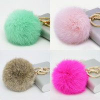 Wholesale Wholesale Moon Star Rings - Wholesale Cute Genuine Leather Rabbit fur ball plush key chain for car key ring Bag Pendant car keychain