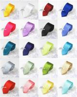 Wholesale Dark Purple Silk Tie - 2016 New Mens Ties Skinny Solid Color Plain Satin Tie Necktie silk Tie black and white necktie silk jacquard woven Tie Neck Ties Men
