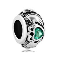 Wholesale round beaded bracelets - Fashion women jewelry Pandora style metal birthstone crystal heart love European spacer bead large hole charms for beaded bracelet