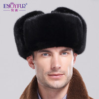 Wholesale Top Trapper Hats Men - Wholesale-Winter Men genuine mink bomber fur hat leather crowm 2015 top sale brand new Trapper ear protector cap three sizes two colors