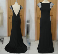 Wholesale ladies two piece evening dresses - In Stock Custom Fancy Long Prom Dress Lady Formal Dress Taffeta Mermaid Party Gown Sweep Train Sequin Beaded Backless Prom Evening Dresses