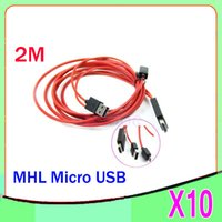 Wholesale Hdmi Galaxy Tablet - DHL 10PCS New 2014 2M MHL Micro USB to HDMI HDTV Adapter Cable for Samsung Galaxy Note ZY-SB-2