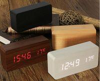 levou madeira despertador digital venda por atacado-Moderno sensor de Relógio De Madeira Duplo display led Relógio De Bambu despertador digital Led Clock Show Temp Tempo de Controle de Voz