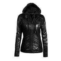 Wholesale Womens Leather Parka Coats - Wholesale- 5XL 6XL 7XL Plus Size Womens Clothing 2017 Winter Faux Leather Hooded Jacket Zippered Hoodie Parkas Slim Motorcycle Jacket Coat