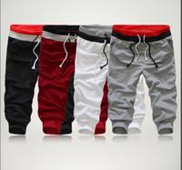 estilo atlético dos homens venda por atacado-Estilo verão Mens Harem Capri Esporte Atlético Calções Basculador de Algodão Calças de Algodão Shorts Preto Cinza Plus Size S-XXL