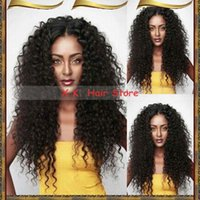 Wholesale Human Mix Lace Front Wigs - Deep Curly Brazilian Hair Lace Front Wig Middle Part Virgin Hair Human Hair Full Lace Wigs For Black Women