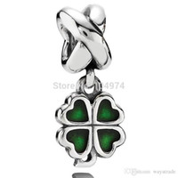 Wholesale Leaf Beads Free Shipping - Hot Sale Wholesale Green Four Leaf Clover Pendant Charm 925 Silver European Charm Bead Fit Snake Chain Bracelet DIY Jewelry Free Shipping