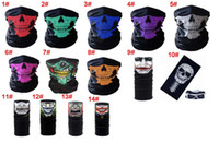 Wholesale Multifunction Headwear - Skull Face Mask Multifunction Magic Headwear Headscarf Cosplay Outdoor Riding Cycling Sports 2in1 Kit Mouth Mask and Scarf Headband