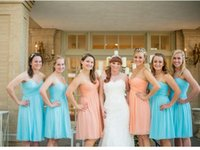Wholesale Cheapest White Short Dress - Short Chiffon Bridesmaid Dresses Sweetheart A-Line Backless With Pleats Knee-Length Beach Garden Wedding Party Gown Cheapest RT009
