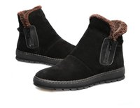 Wholesale Trendy Rubber Boots - US6-10 New Trendy Genuine Leather Warm Zipper Mid-Calf Winter Snow Boots Mens Fur Lined Winter Cotton Shoes
