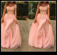 Wholesale Short Sleeves Chiffon Sheath - Elegant Chiffon Sheath Formal Evening Dresses 2015 With Lace Bateau Short Sleeves Long Prom Gown Ababy Midwest Party Plus Size Dress QM