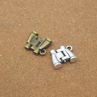 Wholesale Telescope Charms - Wholesale Metal Binocular Charms Antique Bronze Tone Telescope Charms pendant for jewelry DIY 3D Binoculars Pendants 13*15*5mm