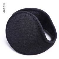 Atacado- Orelhas de inverno Men Ear Muffs Solid Black Back Wear Ear Warmers Warm Plush Earflap Thermal Ear Cover Earbag para Mulheres