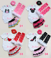 Wholesale Toddler Ruffle Pettiskirt - baby girl infant toddler 4piece outfits Christmas romper + lace cake skirt pettiskirt tutu + ruffle lace legging leg warmer + headband 3sets