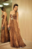 Wholesale Leopard Dress T Length - 2016 Custom Made A Sweetheart Crystal Beaded Leopard Prom Dress Special Occasion Long Formal Evening Gown vestido longo para festa Elegant