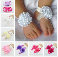 Wholesale Summer Ribbon Sandals - free shipping Baby Barefoot Sandals baby ribbon bows Baby Shoes Handmade socks Girl's Foot Flowers