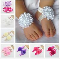 baby sandalen großhandel-freies Verschiffen Baby-barfuß-Sandelholzbabyband beugt Baby-Schuhe handgemachte Socken Mädchen-Fuß-Blumen