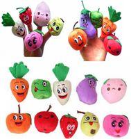 marionetas de frutas vegetales al por mayor-1000 UNIDS / LOTE DHL Fedex Terciopelo Fruta Vegetal Marionetas de dedo Bebé Niños Juguetes para niños Muñecas Marionetas de dedo / Juguetes Apoyos de contar historias / Herramientas Juguete