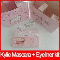 Wholesale Hot Pink Mascara - Hot kylie 2 in 1 mascara set eyeliner birthday edition 3D Fiber Lash Mascara+ Eyeliner Kyliner Waterproof i want it all Makeup Black