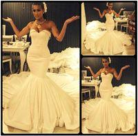 Wholesale Trendy Sexy Wedding Dresses - Fashion Trendy Sweetheart Sleeveless Ivory Satin Mermaid Wedding Dresses 2016 Court Train Bridal Wedding Gowns Robe De Mariage Custom