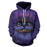 Stilvolle Herbst Winter Sweatshirts Damen Herren 3D Hoodies Cheshire Cat Animal Print Mit Kapuze Tasche Tops Trainingsanzug Oberbekleidung