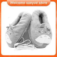 Wholesale Cartoon Slippers Men - Wholesale-Free Shipping 3D My Neighbor Totoro Soft Plush Slipper Cosplay Cartoon Heating USB Warmer Slippers Winter Indoor Home Shoes