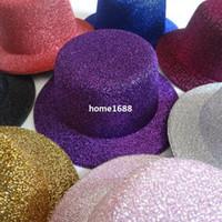 Wholesale mini top hat felt resale online - 2014 New Hen Party Felt Glitter Mini Top Hat Fascinator Base for DIY Hair Accessories