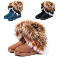 Wholesale Wedge Snow Boots For Women - Fashion Rabbit hair and Fox Fur In tube Color matching warm snow winter boots for women & ladie boots XMAS gift