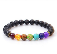 Wholesale reiki stones - New Black Lava Natural Stone Bracelets 7 Reiki Chakra Bead Essential Oil Diffuser Bracelet for Men Women Jewelry