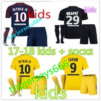 Wholesale Soccer Jerseys Paris - New 2017 18 Neymar jr soccer jersey paris kids blue Yellow jersey +socks Di Maria MBAPPE Silva Ben Arfa Cavani Dani Alves Football jerseys