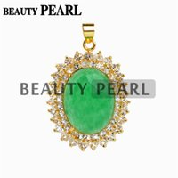 Wholesale Jade Pieces - 4 Pieces Green Malay Jade Stone Oval Pendant White Rhinestones Womens Jewelry