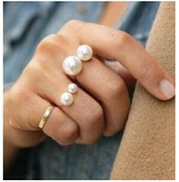 Wholesale Pearl Ring Adjustable - Wholesale- ra283 Simple European and American street shooting joint imitation pearl adjustable ring