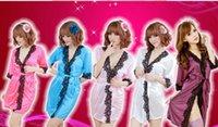 Wholesale Pink Chiffon Nightdress - w1023 Women Sexy Silk Robe Chiffon Black Lace Sleepwear Satin Nightdress G String Gift