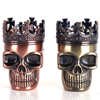 Wholesale King Crowns Wholesale - Tobacco Herb Grinder Crusher 3 Layers King Skeleton Skull Crown Novelty Metal Bronze Brass Spice Dry Herbal Grinder Muller
