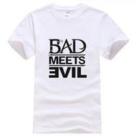Wholesale Bad Meets Evil - Wholesale-Eminem Fashion Men T-shirt new 2015 Cotton Loose Tshirt devil combination bad meets evil Brand Hip Hop T shirt