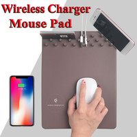 Multi-função Wireless Qi Charger Mouse Mat para iPhone X 7 8 Universal Mobile Phone iphone / Samsung Android Smart Devices Desk Organizer