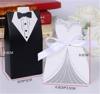 Wholesale Christmas Weddings Tuxedos - 100Pcs Wedding Favor Candy Holder Box Bride & Groom Dress hard paper board & ribbon Tuxedo Three option Party w  Ribbon Gift hot sale