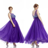 más vestidos de color morado formal al por mayor-Encanto púrpura una línea Sheer joya escote hasta el tobillo de tul rebordear Crystal Plus Size Formal noche Prom Party vestidos 2015 EA0195
