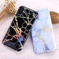 Wholesale Green Laser Retail - New Laser Plating Marble For iPhone X 8 7 6s Case Marble Bronzing Colorful Protective Case with Retail Package Free Shipping